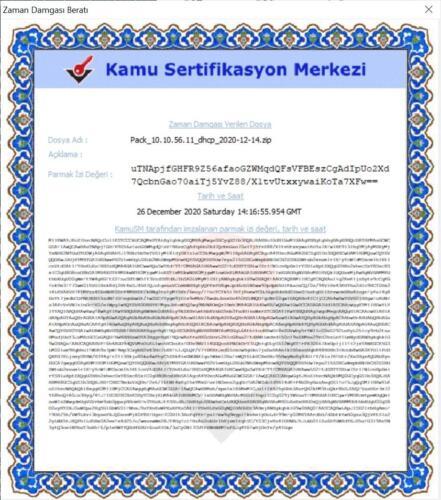 Kamu SM zaman damga sertifikası